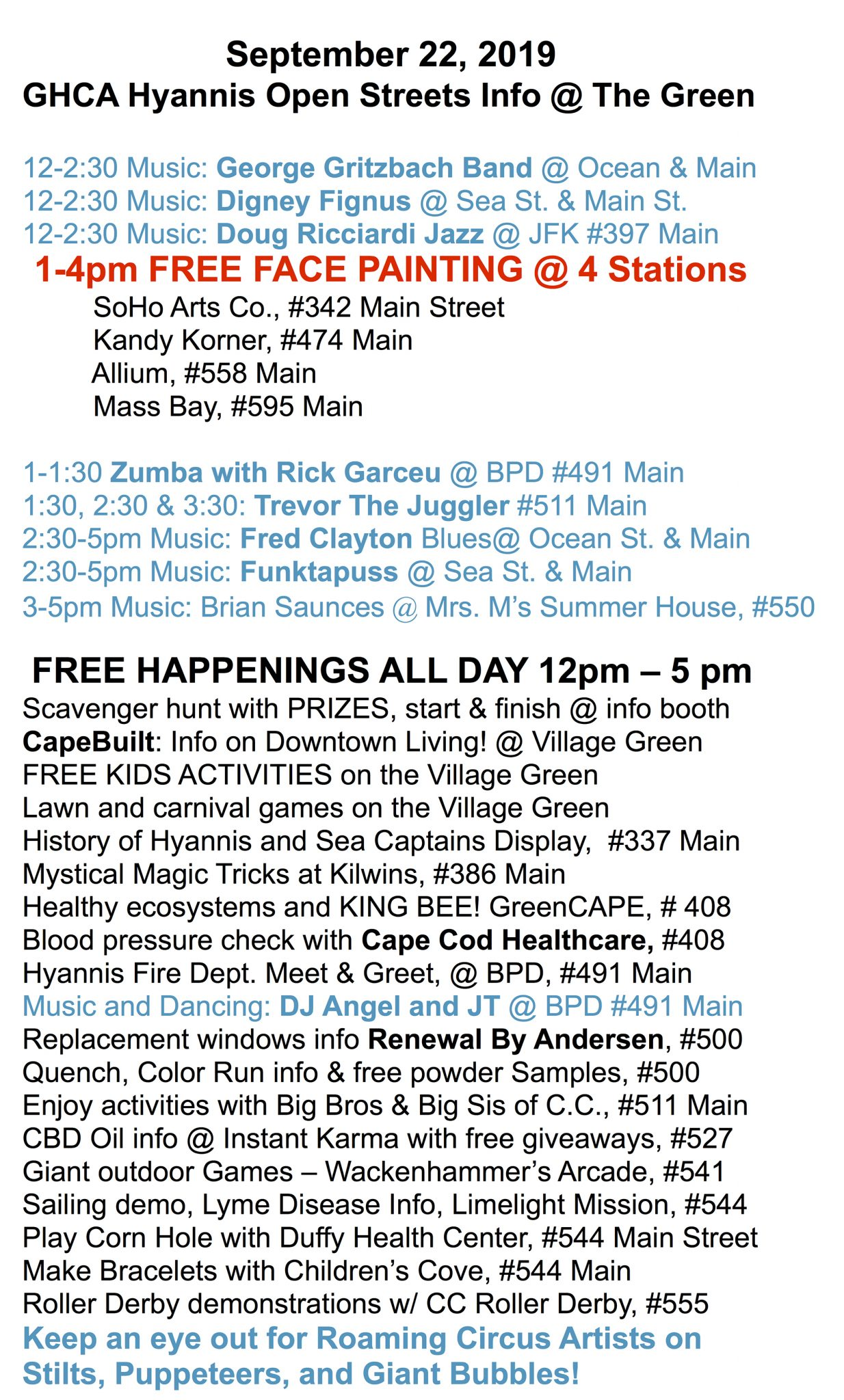 Schedule of events for the September 2019 Hyannis Open Streets
